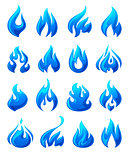 Fire flames, set 3d blue icons
