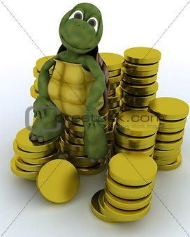 tortoise sat on gold coins