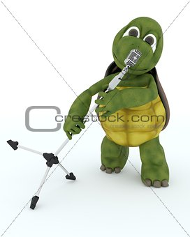tortoise singing into a retro microphone
