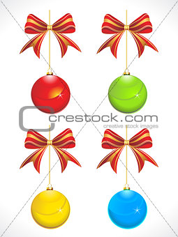 abstract colorful glossy christmas balls with bow