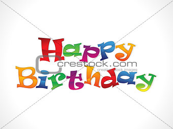 abstract glossy happy birthday text