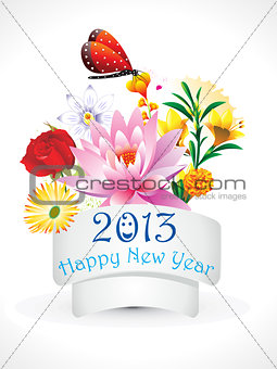 abstract new year flower set