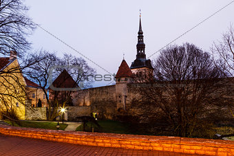 Early Morning at City Walls and Towers of Old Town in Tallinn, E