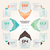 Modern Origami Style Number Options Infographic Illustration