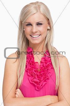 Smiling blonde arms crossed