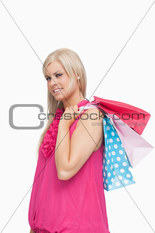 Blonde holding shopping bags