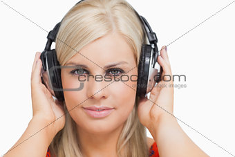 Blonde listening to music