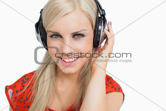Beautiful blonde listening to music