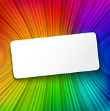 White paper banner on colorful striped background
