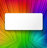 White banner on colorful striped background