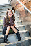 Mixed Race Young Adult Woman Portrait on Staircase