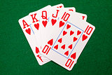 Poker cards with royal flush combination