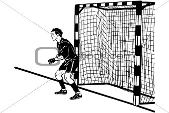 athlete football goalkeeper protects the gate
