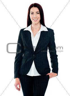 Beautiful businesswoman smiling at camera
