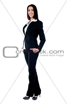 Full length of beautiful businesswoman