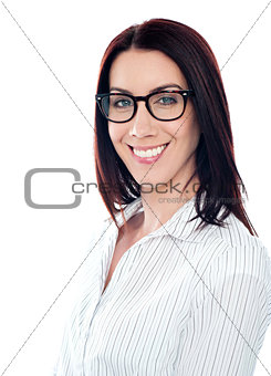Smiling business lady in eyeglasses, closeup shot