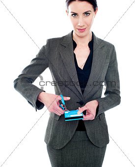 Business lady destroying debit card