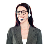 Cheerful female customer care operator looking away