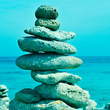 stack of balanced stones in Menorca, Balearic Islands, Spain