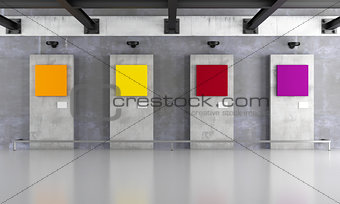 Grunge art gallery with colorful canvas