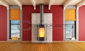 Fireplace in a house in the mountains