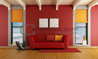 Red living room of a house in the mountains