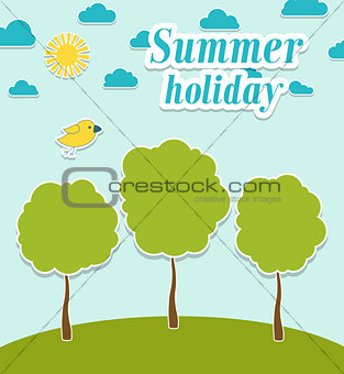 Abstract summer paper background with trees.