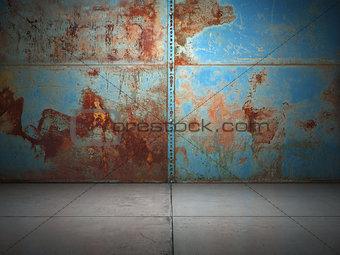 Old rusty metal plate illuminated