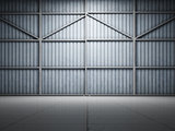 Large warehouse door illuminate