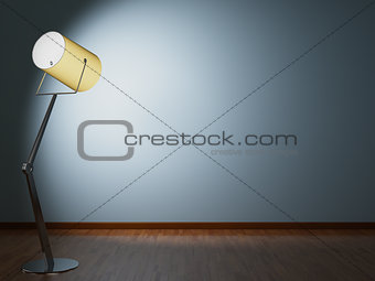 Floor lamp illuminates wall
