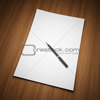 Blank sheet of paper with pen