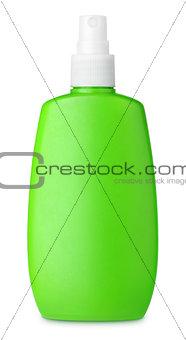 Green spray bottle isolated on white