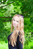 woman with long hair outdoors