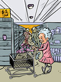 Cartoon granny shopping