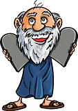 Cartoon Moses with the Ten Commandments