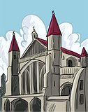 Cartoon of a medieval cathedral