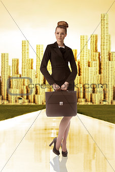 business woman with tower of gold money on the back