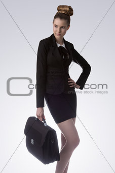 blonde business woman posing