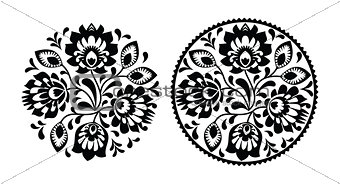 Folk embroidery with flowers - traditional polish round pattern in monochrome