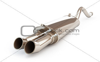 Car muffler, exhaust silencer on a white background