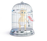 baby request for assistance in a bird cage 3d Illustrations