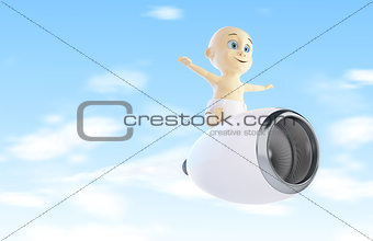 child flies to the engine from the airplane 3d Illustrations