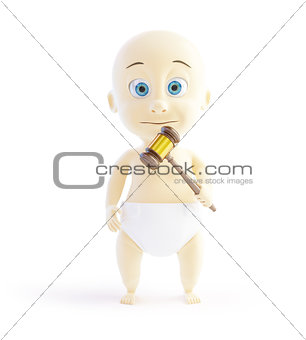 child with a hammer judge 3d Illustrations on a white background