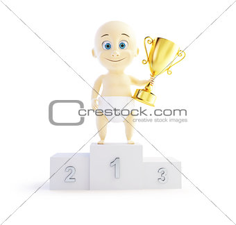 baby trophy cup 3d Illustrations on a white background