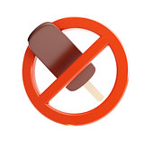 sign ban on ice cream 3d Illustrations on a white background