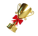 gift gold trophy cup 3d Illustrations on a white background