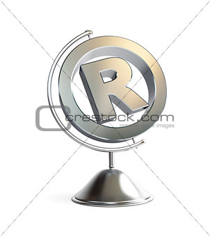 globe registered trademark sign 3d Illustrations on a white back