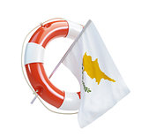 Cyprus flag in rescue circle, lifebuoy, life buoy on a white background