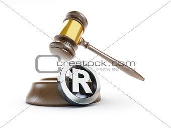 gavel registered trademark sign 3d Illustrations on a white back