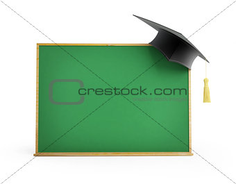 blackboard, chalkboard, graduation cap 3d Illustrations on a whi